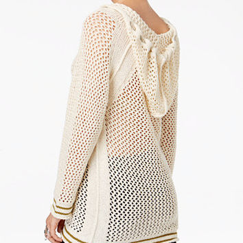 Free People Shadow Stripe Open-Knit Hoodie | macys.com