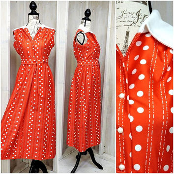 Vintage 70s summer dress / Yves Jennet / red polka dot maxi dress / retro /  mod / size Small /  4 / 6