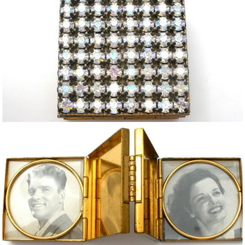 Vintage Accordion Mini Photo Book with AB Rhinestones