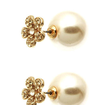 Double Sided Floral Pearl Earrings - Rose Gold