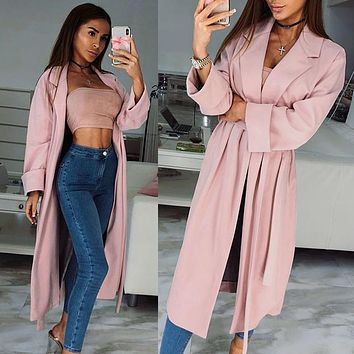 Autumn Women Pink Long Trench Turn-down Collar Elegant Thin Trench Coat with Belt Ladies Business Pink Long Coat Slim Outwear