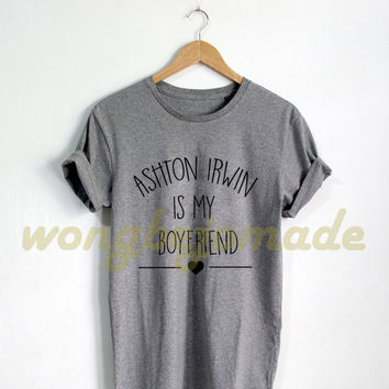 Ashton Irwin Shirt Black Grey Maroon and White Color Tshirt