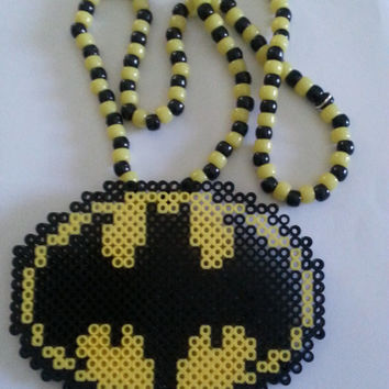 Batman and/or Superman Kandi Necklace / Superhero kandi / rave necklace