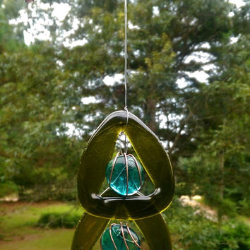 Illume Glass Studio Recycled Wine Bottle and Copper Wind Chime