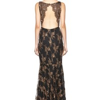 alice + olivia | KATRINA SLEEVELESS KEYHOLE OPEN BACK LONG GOWN