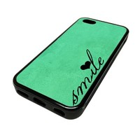Apple iPhone 5C 5 C Case Cover Smile Heart Teal Vintage DESIGN BLACK RUBBER SILICONE Teen Gift Vintage Hipster Fashion Design Art Print Cell Phone Accessories