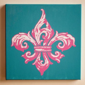 "Fleur de Lis Painting, Pink & Turquoise Acrylic on Canvas 12""x12"" Original Art, New Orleans Saints Decor, Kappa Gamma, Christmas Gift, Wall"