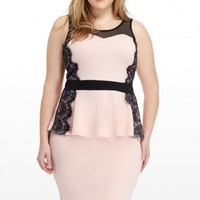 Plus Size Charmed Lace Side Peplum Top | Fashion To Figure