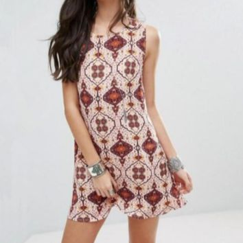 New summer sexy Women ethnic style printed O neck dress-0524