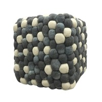Modern Grey Blue Handmade Square Woolen Pebble Pouf