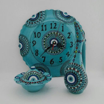 Turqoise Evil Eye Decorated Wall Clock , Sugar Bowl and Swan Pitcher Set , Mother's Day Set , Fast Free Shipping