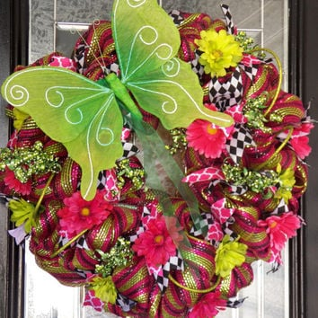 HUGE!! Spring Deco Mesh Wreath- Summer Wreath- Colorful Spring Wreath- Door Hanger- Ready to Ship