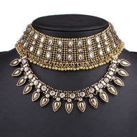 Golden Crystal Statement Choker Necklace