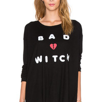 Wildfox Couture Bad Witch Thermal Tee in Jet Black