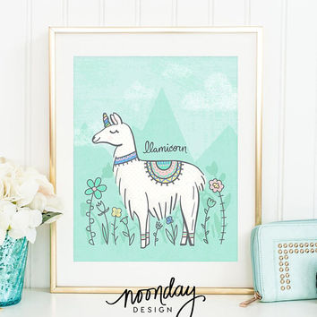 Llamicorn / Unicorn Art, Nursery Art Print, Llama Printable Art, Bright and Cheerful Art, Happy Printable, Children's Printable