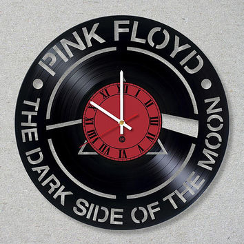 Vinyl Record Wall Clock Pink Floyd Rock Band Music The Dark Side of the Moon Handmade.Home decor. Fans Music.Original Clock,Gift, Art, Decor