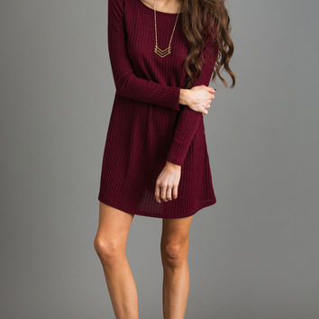 Vivi Burgundy Longsleeve Sweater Dress