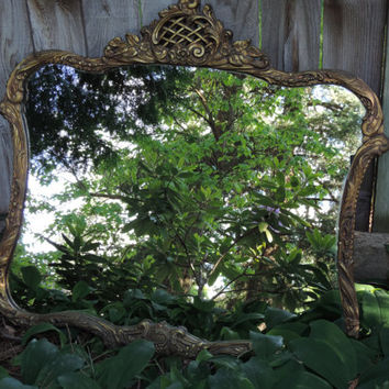 Antique Gesso  Mirror  1900's French Victorian Style Mirror Hollywood Regency Style Ornate Gold Mirror