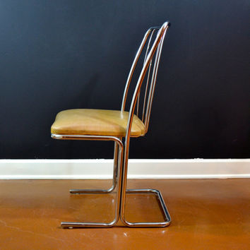 RARE Vintage Daystrom Cantilever Chrome Chair, Silver and Tan Vintage Chair , Eames Era, Danish Modern Chair