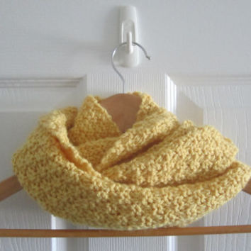 Spring Scarf - Knit Mini Scarf - Cowl - Infinity Scarf - Spring Knit - Yellow Scarf - Knitted Circle Scarf - Made in Canada - Wool Blend
