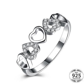 Eternity Love Heart CZ Diamond Sterling Silver Forever Ring