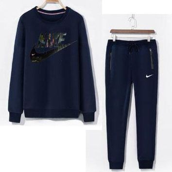 NIKE Men Casual Sport Top Sweater Pullover Pants Trousers Set Two-Piece-1