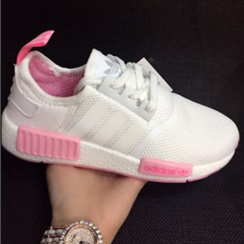 """ADIDAS"" Fashtion Running NMD Sport Casual Shoes Sneakers White Pink Solse G-MDTY-SHINING"