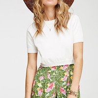 Pleated Frond Print Shorts