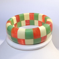 "Signed Shultz Checkerboard Bangle Bracelet Solid Laminated with 7"" Inner Diameter"