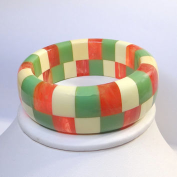 """Signed Shultz Checkerboard Bangle Bracelet Solid Laminated with 7"""" Inner Diameter"""