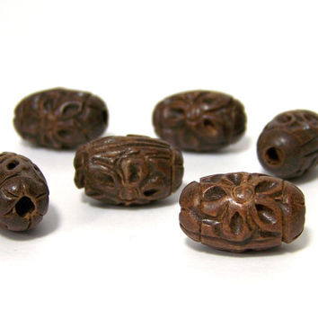 Carved Wooden Beads, dark brown oval flower pattern, large hole (530R)