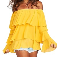 Chi Chi Ruffle Off-The-Shoulder Top