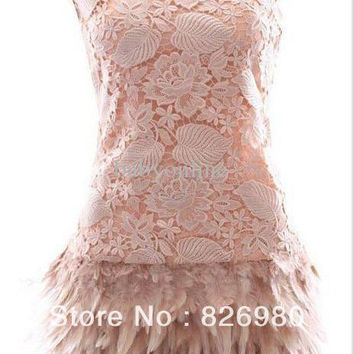 Sexy Feather Lace Cocktail Dress Short  2016 Graceful Mini Pink Prom Dress Plus Size Party Dress Vestidos De Coctel
