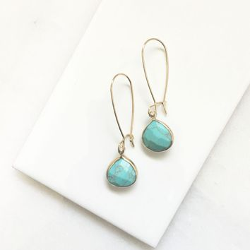 Turquoise Stone Dangle Earrings