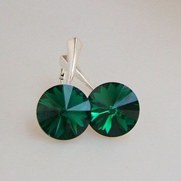 Emerald Earrings, Swarovski Crystal, Dark Green Rivoli Earrings, Sterling Silver Leverback, Emerald Leverback
