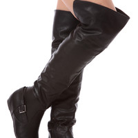 Black Faux Leather Thigh High Riding Boots