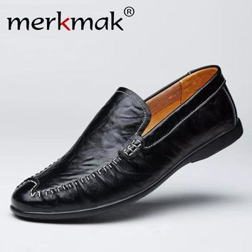 Merkmak Brand New Genuine Leather Men Loafers Flat Shoes Luxury Moccasins Comfort Driving Shoes Fashion Casual Shoes Dropship