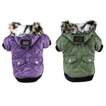 Cute Solid Warm Coats Dog Clothing For Pet Faux Pockets Fur Trimmed Dog Puppy Hoodie Pets Jacket Costume Hot Selling