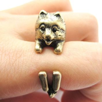 Realistic Pomeranian Pom Puppy Dog Shaped Animal Wrap Around Ring in Brass | US Sizes 4 to 8.5