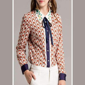 B Unique Elegant Print Bow Print Turn-Down Collar Runway Popular Cotton Buttons Winter All-Match Dedicate Shirt