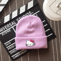 Hello Kitty Head Embroidered Patch Womens & Mens Beanie Wool Knitted High Quality Light Purple Cuffed Skully Hat