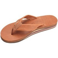 "Rainbow Sandals Women's 2 Tone Leather Double Stack Wide Strap Tan Size Size 11 (11.75"")"