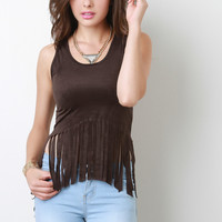 Vegan Suede High Low Fringe Sleeveless Crop Top