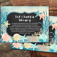 Bring a Book Instead of a Card Insert, Under the Sea Party, Nautical Beach Seashells Baby Shower, Mermaid Party, Coral Mint Gold, DIY Party
