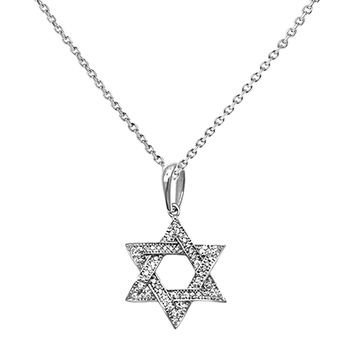 0.12ct Pavé Diamonds in 14K White Gold Star of David Pendant Necklace