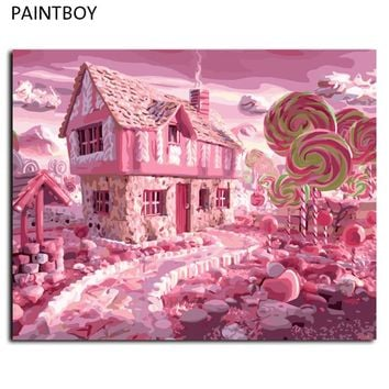 PAINTBOY Oil Painting Framed Picture Painting By Numbers Abstract Candy House DIY Digital Canvas Oil Painting Wall Art G417