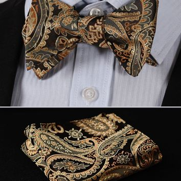 Paisley Floral Houndstooth Silk Jacquard Woven Men Butterfly Self Bow Tie BowTie Pocket Square