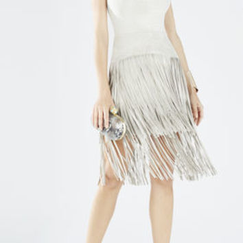 Evin Faux-Suede Tiered Fringe Dress - Neutral