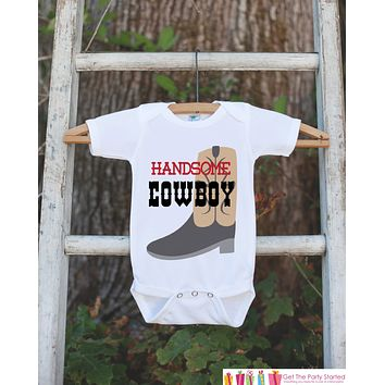 Handsome Cowboy Outfit - Novelty Bodysuit For Baby Boy - Western Bodysuit with Cowboy Boot - Cowboy Onepiece - Boy Baby Shower Gift