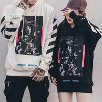 ONETOW OFF-WHITE' Unisex Casual Fashion Stripe Religion Pattern Long Sleeve Hooded Sweater Couple Tops